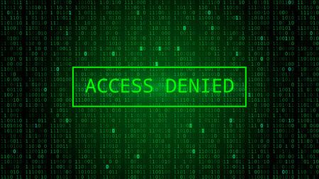 Binary Code on Dark Green Backdrop. Access Denied Illustration