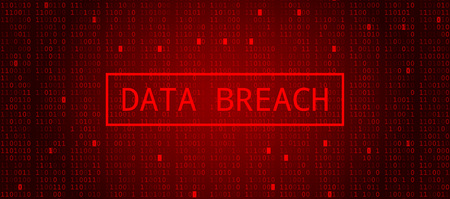 Digital Binary Code on Dark Red Background. Data Breach