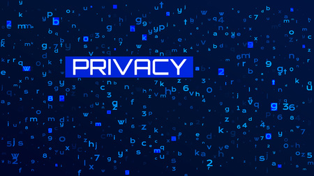 Technology Dark Blue Background. Privacy Concept Data Protection.