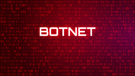 Technology Binary Code Red Background. Hacker and Botnet Concept. Vector Illustration