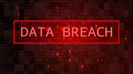 Dark Red BG with Binary Code. Data Breach