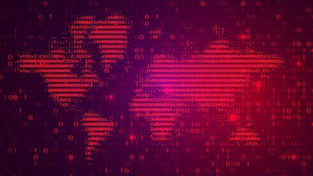 Digital Binary Code on Dark BG with Alert Map Stok Fotoğraf