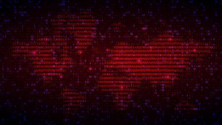 Digital Binary Code on Dark Red BG with Map