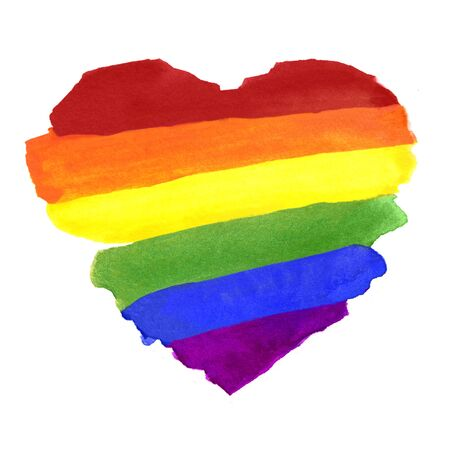 Watercolor Colorful Striped Ranbow Flag in Heart Shape
