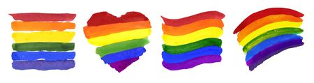 Set Of Four Different Colorful Ranbow Flags Foto de archivo - 130716048