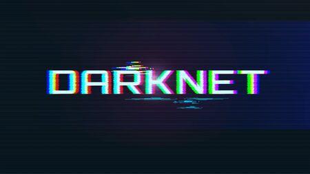 Darknet Concept. Dark BG with Glitch Effect