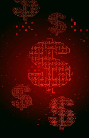 Digital Binary Code on Red with Dollar