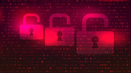 Digital Binary Code on Red Background with Lock Illustration