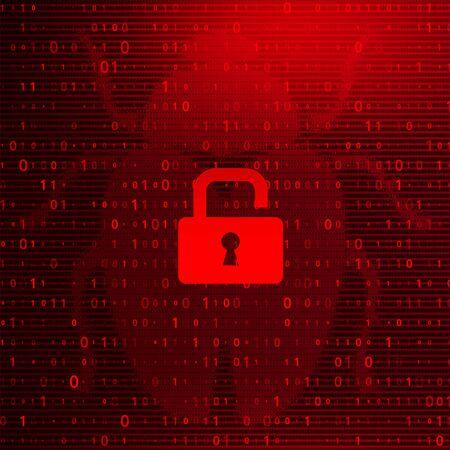 Digital Binary Code on Dark Red BG with Lock