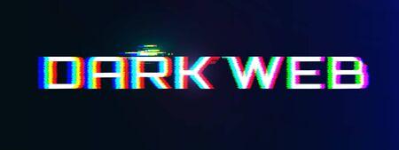 Dark Web Concept. Dark BG with Glitch Effect Stock Illustratie