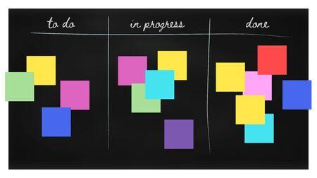 Agile Scrum Black Board with Colorful Stickers Çizim