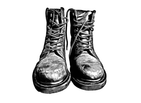 Cool Leather Military Stylish Boots 写真素材