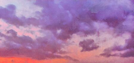 Beatiful Sky with Clouds Expressive Oil Painting 写真素材