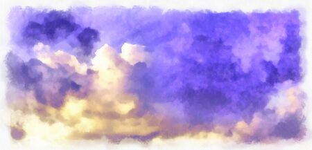 Beatiful Sky with Clouds Watercolor Painting