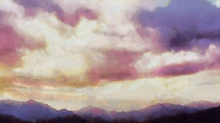Beatiful Sky with Clouds Expressive Painting