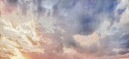 Beatiful Sky with Clouds Expressive Oil