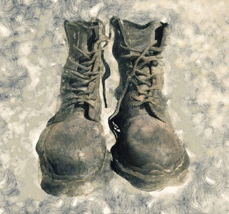 Cool Leather Military Stylish Boots Painted Illustration