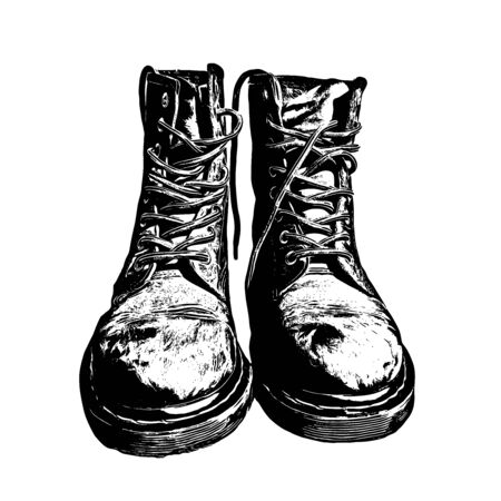 Military Boots Black Ink Graphic Drawn Illustration Vector