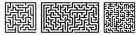 Set Of Vector Mazes. Rectangle Labyrinth Illustrations 写真素材