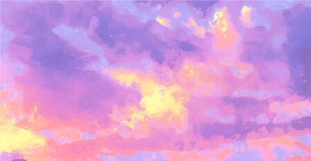 Beatiful Sky with Clouds Artistic Craft Painting 写真素材