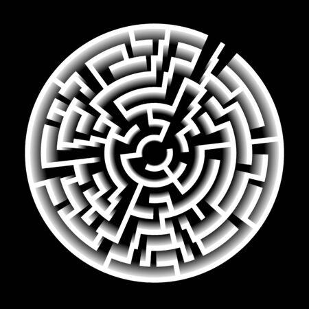 3D Effect Vector Maze. Circle Labyrinth Illustration 写真素材
