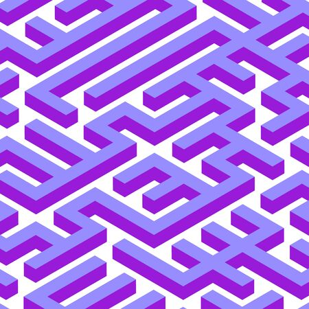 Isometry Vector Maze. Purple Vibrant Colors Labyrinth