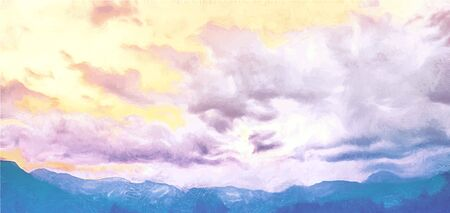 Beatiful Sky with Clouds Artistic Craft Painting  イラスト・ベクター素材