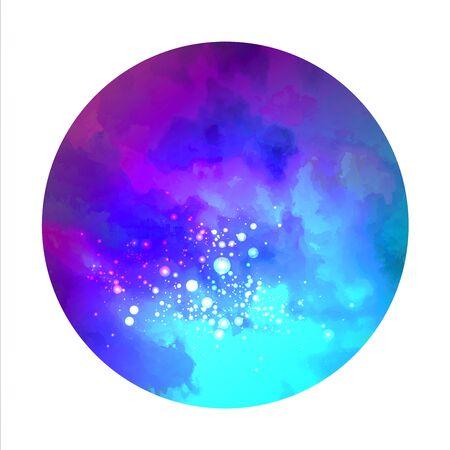 Beatiful Watercolor Sky with Clouds in Circle Boho Design 写真素材 - 136968096
