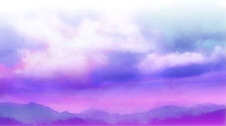 Beatiful Sky with Clouds Artistic Background. Craft Painting Landscape Design