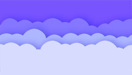 Fun Paper Cut Sky with Clouds. Cartoon Craft Elements Design  イラスト・ベクター素材