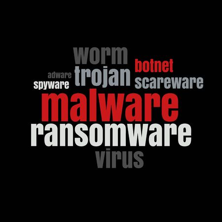 Conceptual Words Tag Cloud. Data Breach, Malware, Cyber Attack, Hacked Concept  イラスト・ベクター素材
