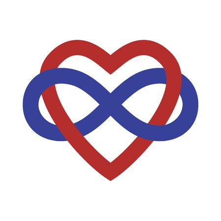 Polyamory Concept Sign Banner. Vector Infinity Heart Shape