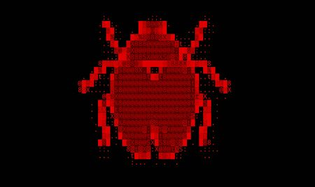 Abstract Red Background with Binary Code Numbers. Data Breach, Malware, Cyber Attack, Hacked Concept