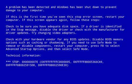 Blue screen of death. BSOD Screen computer monitor