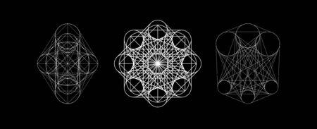 Mystical Spirograph vector symbols. Spirituality harmony