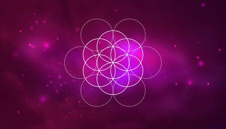 Mystical sacred geometry vector symbol Flower of Life. Spirituality, harmony