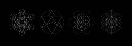 Mystical sacred geometry vector symbos set. Spirituality, harmony