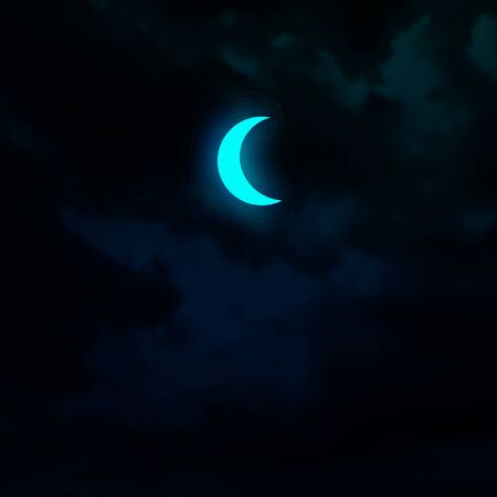 Crescent moon isolated on dark sky background. Glowing vector element