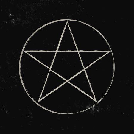 Pentacle isolated on dark background. Magic decorative elements