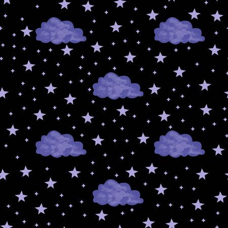 Seamless pattern with space graphic elements on dark background. Decorative starry