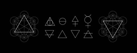 Alchemy symbols isolated on dark background. Magic vector elements Иллюстрация