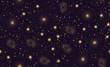 Seamless pattern with space graphic elements on dark background. Decorative galactic 写真素材 - 139068305