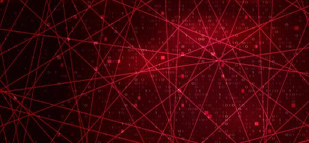 Digital Binary Code on Red Background with Lines. Hacker Attack Concept