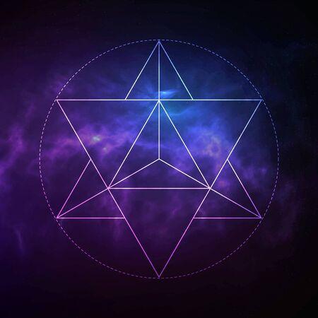 Symbole de vecteur de géométrie sacrée mystique Merkaba. Spiritualité, concept d'harmonie