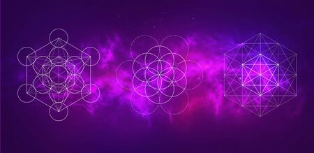Vector cosmic illustration. Colorful space background with sacred geometry symbols 写真素材 - 141161103