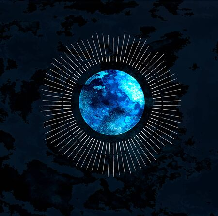 Full moon isolated on dark background. Magic vector elements
