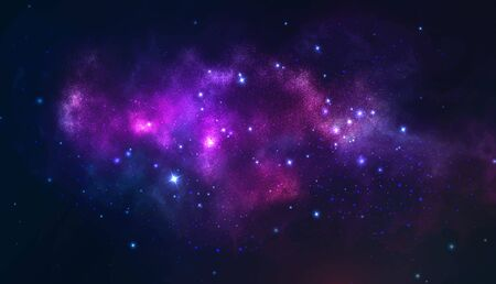 Vector cosmic illustration. Colorful space background with stars 写真素材 - 141161115