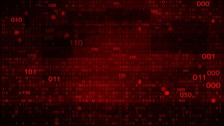 Abstract Red Background with Binary Code. Malware, or Hack Attack  イラスト・ベクター素材