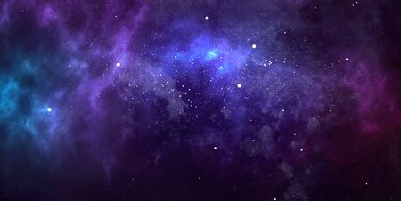 Vector cosmic watercolor illustration. Colorful space background with stars 写真素材 - 143358452
