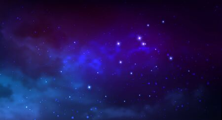 Vector cosmic illustration. Colorful space background with stars 写真素材 - 143358294